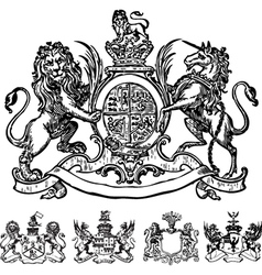 Victorian lion crest vector