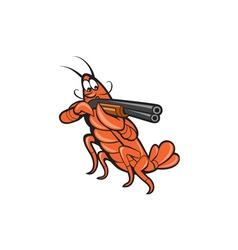 Crayfish lobster aiming shotgun cartoon vector