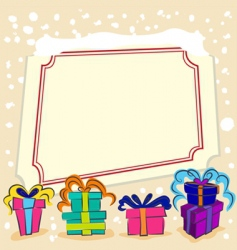 Surprise gift with frame vector