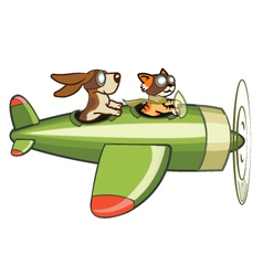 Cat and dog flying plane vector