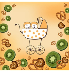 Pram and kiwi fruits vector