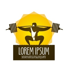 Weight lifter logo design template gym or vector