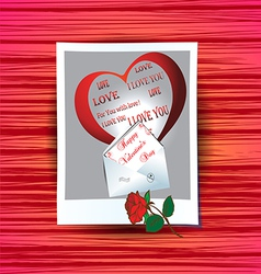 Photograph with congratulations on valentines day vector