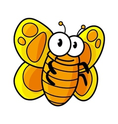 Yellow spotted butterfly cartoon character vector