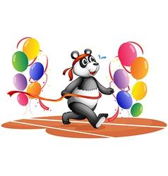Balloons panda running vector