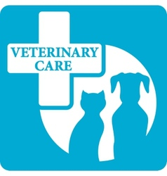Veterinariry care icon with dog and cat vector