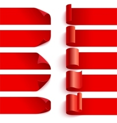 Set of curled red ribbons with shadows on white vector