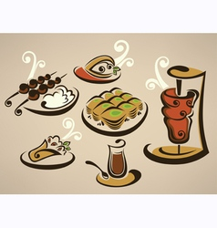 Tasty arabian food vector