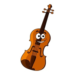 Smiling happy wooden violin vector