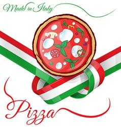 Italian pizza on ribbon flag vector
