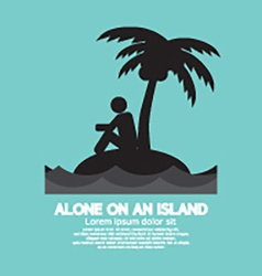 Alone on an island black symbol vector