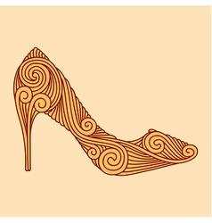 Brown ornamental shoe on light beige background vector