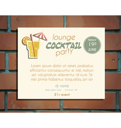 Lounge cocktail party poster invitation template vector