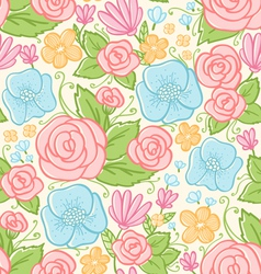 Roses and violets pattern vector