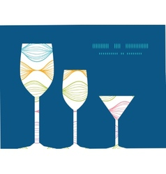 Colorful horizontal ogee three wine glasses vector