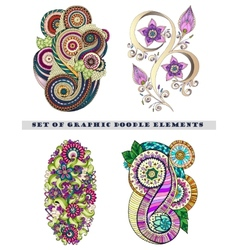 Set of henna paisley mehndi doodle element vector