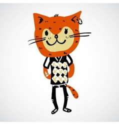 Cat teenager character vector