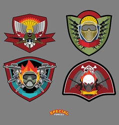 Set army logo arms and wings vector