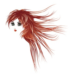 Girl with long red hair2 vector
