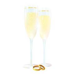 Two glasses with champagne and ring vector