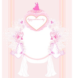 Romantic card with dancing couple love birds and vector