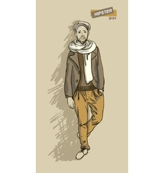 Hipster man in fashion vector