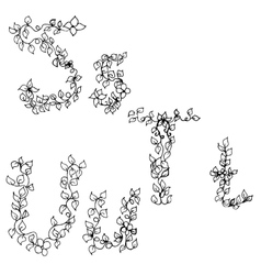 Alphabet in style of a sketch the letters s t u vector