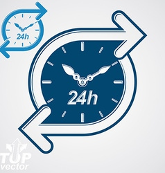 Simple 24 hours timer around-the-clock flat vector