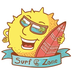 Sun character with surfboard vector