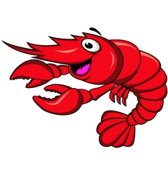 Red shrimp cartoon vector