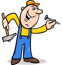 Worker with nail cartoon vector