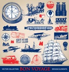 Vintage travel set vector