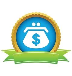 Gold dollar purse logo vector