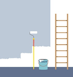 Ladder paint roller and paint bucket home vector