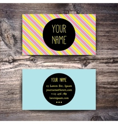Business card template with creative retro pattern vector