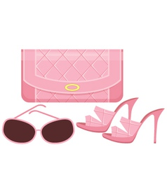 Female bag shoes and sun glasses vector