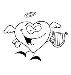 Cartoon heart with harp vector