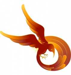 Swooping fiery bird vector
