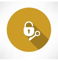 Open lock with a key icon vector