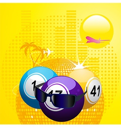 Bingo balls with sunglasses on summer background vector