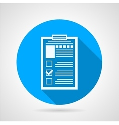 Document form blue round icon vector