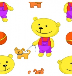Teddy bear with dog vector