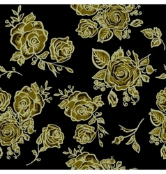 Art deco floral seamless pattern with roses vector