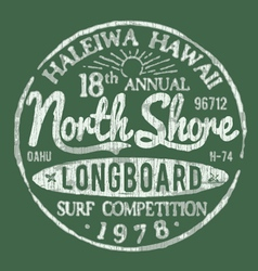North shore surf themed vintage design vector