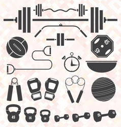Weight lifting and workout icons and s vector