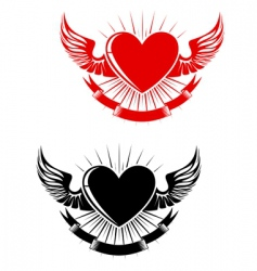 Retro heart tattoo vector