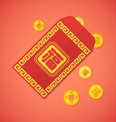 Flat style chinese new year red envelope with vector