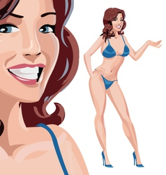 Girl in blue bikini vector