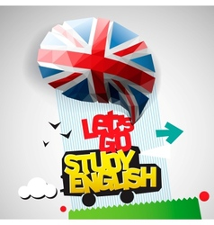 Lets go study english background vector