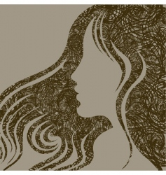 Closeup woman with beautiful hair vector
